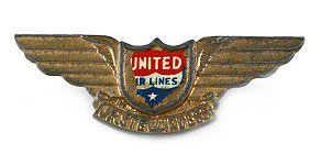 United Airlines Jr. Stewardess Wings