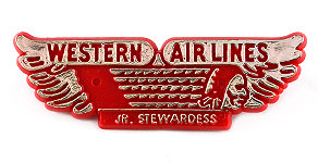 Western Airlines Junior Stewardess Wings