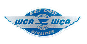 West Coast Airlines Junior Pilot Wings